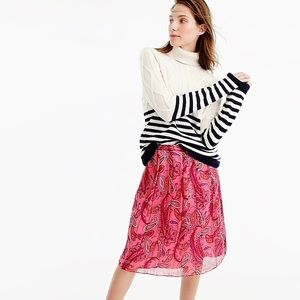 NWT. J. Crew Silk skirt